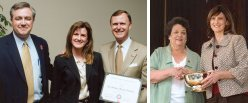 Dr. Heather (DeHart) Johnson (B.S. 1992, M.S. 1994, Ph.D. 1997), Associate Professor of Biology at Western Kentucky University has received the Ogden College of Science and Engineering Teaching Award (left) and the Western Kentucky University Teaching Award (right)