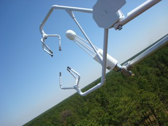 a crane-like piece of equipment suspended over a forest