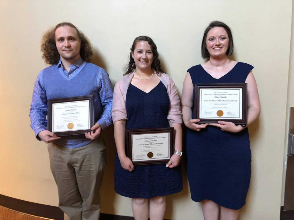 Andrei Bombin (Ralph L. Chermock Prize), Rebecca Varney (Joab Langston Thomas Scholarship), and Katie Sandlin (Inge and Ilouise Hill Research Fellowship)