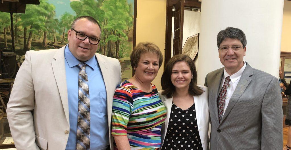 Victoria Colon (Michael L. McDaniel Memorial Scholarship), mentor Dr. Ryan Earley, and family