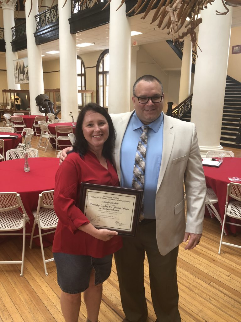 Jennifer Gresham (Outstanding Teaching by a Graduate Student in Biological Sciences) and mentor Dr. Ryan Earley