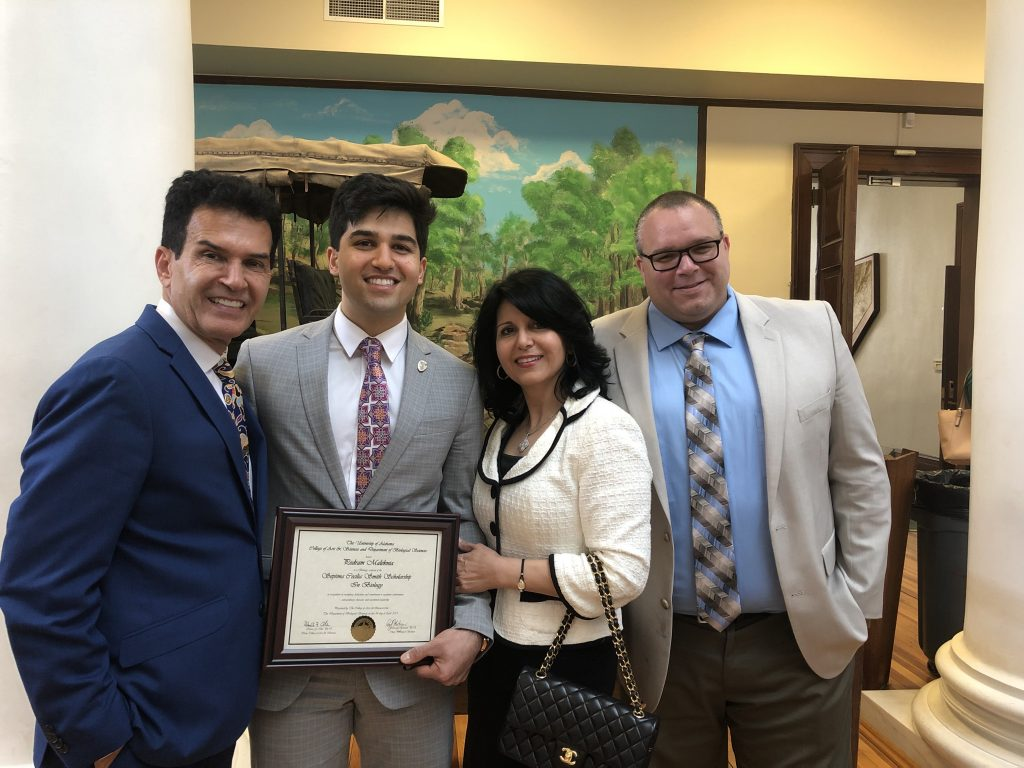 Pedram Maleknia (Septima Cecilia Smith Award), mentor Dr. Ryan Earley, and family