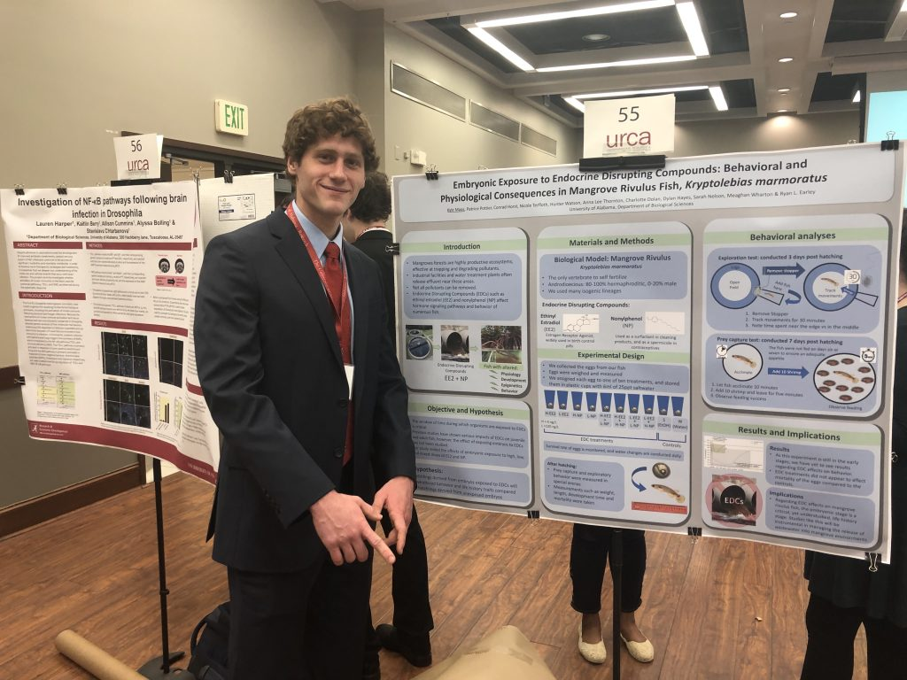 Kyle Maas (URSCA honorable mention - oral presentation; shown here with URCA poster)